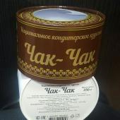 Круглая коробка для упаковки чак-чака, диаметр 12 см, высота 8 см. Печать: CMYK, пантон золото,лак ВД. Вклейка пластикового окошка.