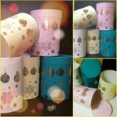 Круглые новогодние коробки с праздничным дизайном, цветная печать